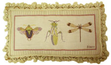 "12""x22"" Handmade Wool Needlepoint Stink Bug Grasshopper Dragonfly Bolster Pillow"