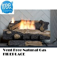 Natural Gas Fireplace Vent Free Logs w/ Thermostat Insert 24 inch Oakwood Heater