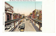 THE BOWERY FROM GRAND ST, RARE COPPER WINDOWS ELEVATED TRAINS & TROLLEY PC, NYC
