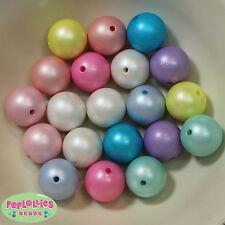 20mm Matte Acrylic Faux Pearl Bubblegum Beads 20 pc mix, pastel colors