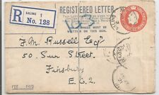 1921 GV 5d REGISTERED LETTER SENT FROM EALING TO CENTRAL LONDON SEE SCANS