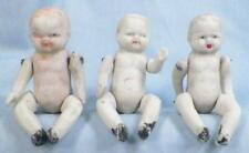 3 All Bisque Baby Dolls Triplets Dollhouse Jointed Made Japan #22