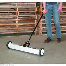 """New 30"""" Magnetic sweeper with wheels. 50 lbs pull. Clear nails screws and scrap!"""