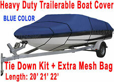 20' 21' 22' V-Hull Fish/Ski Trailerable Boat Cover Color Blue All Weather HD B