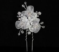 FLORAL CLEAR AUSTRIAN RHINESTONE CRYSTAL HAIRPIN PICK COMB WEDDING TIARA C1710