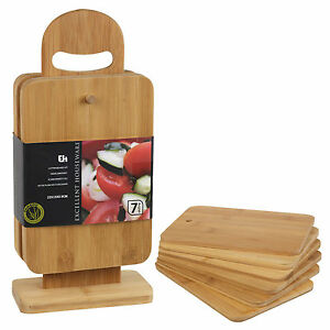 6pcs Bamboo Chopping Cutting Slicing Boards With Display Stand Fruit Vegetable