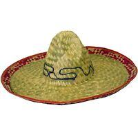 Hombre Adulto Sombrero Mexicano Para Disfraz Sombrero De Paja Beige/Rojo Nuevo