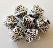 100pcs 7x6mm Metal Alloy Bicone Spacer Beads - Antique Silver #1