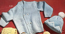 Vintage Knitting PATTERN to make Baby Boy Cap Cardigan Sweater BoyCapSweater