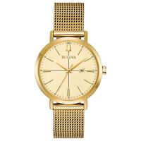 Bulova Women's Classic Quartz Gold Tone Mesh Bracelet 34.5mm Watch 97M115