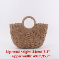 Womens Wicker Handbag Totes Summer Beach Straw Woven Vintage Rattan Basket Bags
