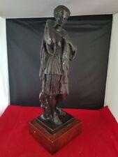 "Bronze Metal Statue on Wood Base Classical Roman Lady Goddess Sculpture 15""H"