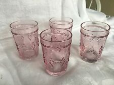 VINTAGE INSPIRED PINK GLASS HOBNAIL FLORAL  PATTERN DRINKING GLASSES