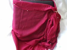 Beach Sarong Scarf Red Pearl with Dolphin Seaside  Toggle Ring