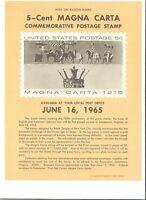 Scott 1265 5c Magna Carta USPS Collectors Stamp Poster Bulletin Folded Mint
