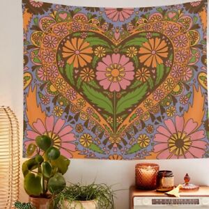 Vintage Floral Heart Wall Tapestry Hippie Retro Psychedelic Hanging Home Décor