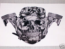 Motorcycle or Aviation Skull Window Decal Decals Trailer Sticker Skulls Harley