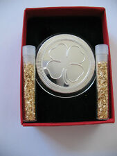 1 OZ. SILVER.999 POKER GUARD CARD  4 LEAF CLOVER GOOD LUCK ENGRAVABLE COIN +GOLD
