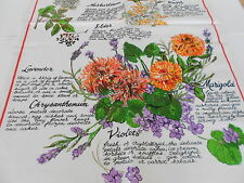 VINTAGE ICOTTON/ LINEN TEATOWEL 'EDIBLE FLOWERS'  BY ROSS BRAND NEW