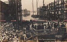 """Royal Navy RP Postcard. HMS """"Bellerophon"""" Battleship. Taking Water! Rare! 1907"""