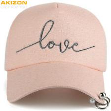 Womens Baseball Cap Love Embroidery Adjustable Plastic Strap Pearl Metal Rings