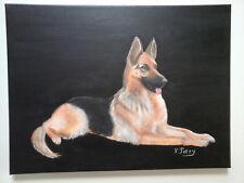 TABLEAU Chien Berger Allemand Loup  peinture acrylique sur toile Nadine PETRY