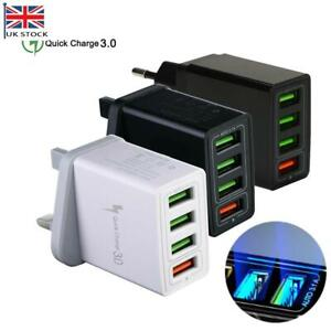 Fast Charger Plug 4 USB Port Power Supply Adapter 5V 3A Mobile Phone PC Tablet