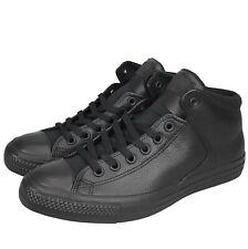 New Converse Chuck Taylor All Star High Street Hi Black Leather Shoe 161473C