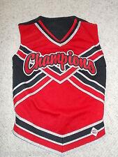 "CHAMPIONS Red, Black, & Sparkly Silver CDT Cheerleading UNIFORM TOP 30"" Ladies"