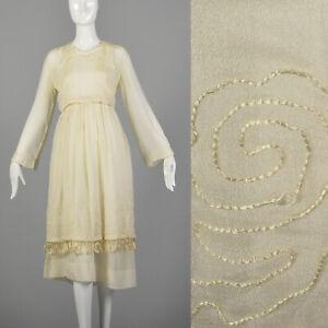 XS 1910s Ivory Dress Edwardian Chiffon Reproduction Theater WWI Wedding Costume