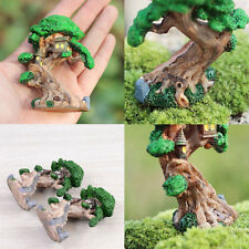 Old Tree & Mini House Garden Fairy Miniature Figurine Plant Pot Ornaments Lovely