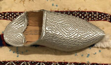 Moroccan Handmade Leather Silver Embroidered Slippers
