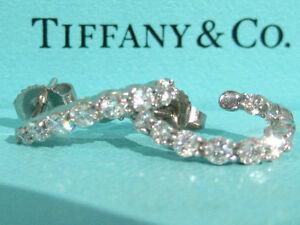 TIFFANY & CO. DIAMOND INSIDE OUT HOOP EMBRACE SHARED SETTING  PLATINUM EARRINGS