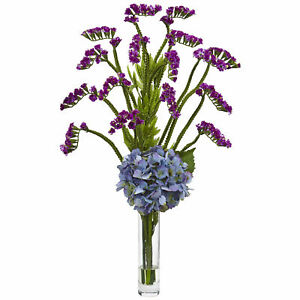 Hydrangea And Statice Bud Arrangement Blue Purple Floral Nearly Natural Decor