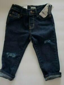 NWT OshKosh Super Skinny Jeans Infant Sz 12-18 mos Distressed Dark Wash NEW