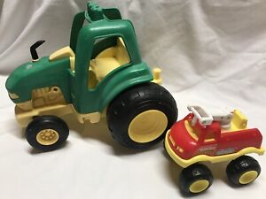 Vintage Tonka John Deere Tractor Plastic Green Yellow 1992 Red Fire Chief truck