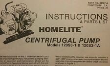 Homelite Centrifugal Trash Pump Owners & Parts  (4 Manuals) 12pg Pond Water Fire