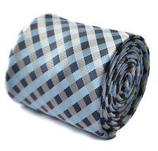 Frederick Thomas blue and grey check design mens tie FT1753