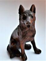 Antique Netsuke Japanese Wolf Intricately Carved Boxwood Signed 7cm high
