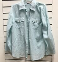 Chicos Womens 1 M Cotton Beach Top Button Down Shirt Roll Tab Sleeves Blue Sheer