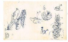 SUZANNE CREPIN (1880-1956) ESQUISSES DE CHAMPIGNONS ET RACINE DE PAPYRUS