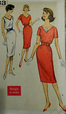 Vtg 60s Lovely Work Day or Cocktail Party Dress Size11 Bust 31.5 Simpliciy 3433