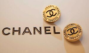 Vintage Chanel Buttons Metal CC Logo 1 inch 25 mm gold XLarge