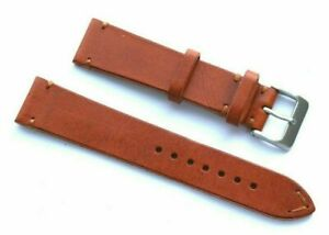 20mm Brown Leather Replacement Men Watch Band Handmade W/ Silver Tone Buckle