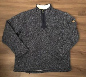 Orvis Sherpa Lined Pullover Sweatshirt Sweater Zip  Navy Mens Size Large