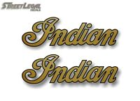 """2 INDIAN SCRIPT Gold w/Black Outline 2""""x6.5"""" Decals Motorcycle Gas Tank Stickers"""