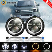 "Pair 7"" Inch LED Headlight Halo Angel Eyes with aperture for Land Rover Defender"