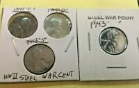 1943-PDS & 1943-Lincoln Cent Steel War Penny (LOT OF 4 Coins)
