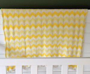 """Handmade Crochet Chevron Stripe Baby Blanket Yellow 37.5"""" x 34.5"""" Throw"""