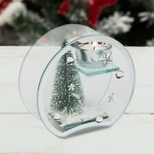 Rounded Glass Tea Light Candle Holder with Christmas Tree Design